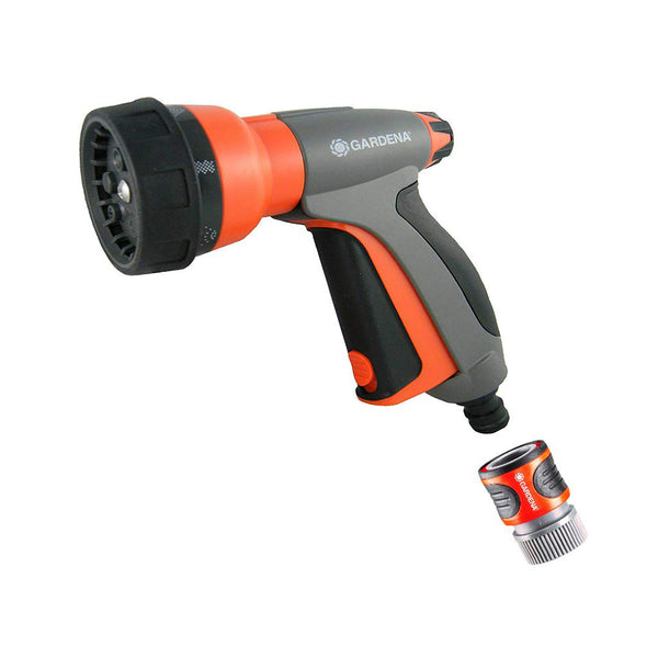 Gardena 32121 Control Metal Multi-Purpose 7-in-1 Spray Gun with Built in Flow Control, Orange