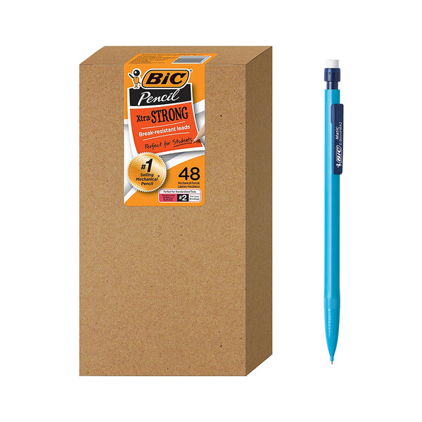 BIC Xtra-Strong Mechanical Pencil, Colorful Barrel, Thick Point (0.9mm), 48 Pcs