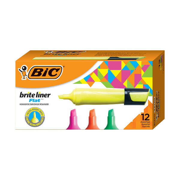 BIC Brite Liner Flat Highlighter, Assorted Colors, Chisel Tip, 12-Count