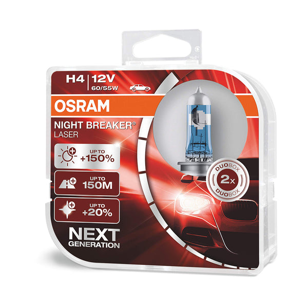 OSRAM NIGHT BREAKER LASER H4, 150% more brightness, halogen headlamp, 64193NL-HCB, 12V (2 lamps)