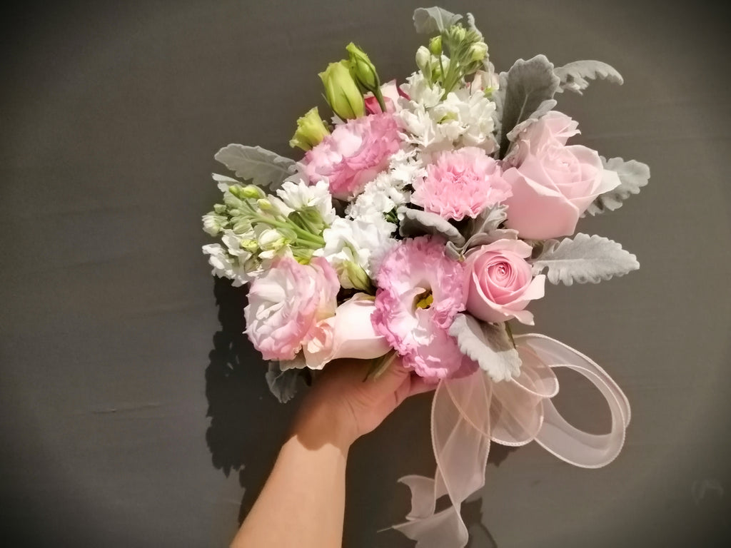 Pink Blush Bridal Bouquet and Bridegroom Boutonneire