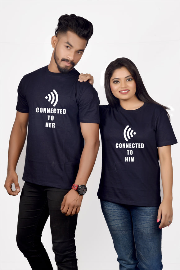 2f0273ab CONNECTED TO HER/HIM COUPLE T-SHIRT – Hificlothing.in