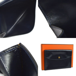 Navy Box leather Hermès clutch with gold-plated, HERMÈS, best price authentic hermes clutch bag, christmas 2019 gift, Luxury gift