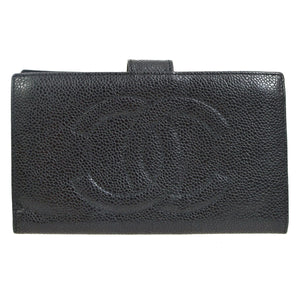 Chanel Black Caviar Timeless French Purse Wallet