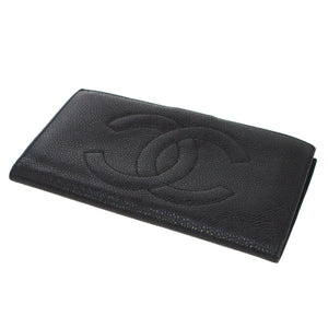 Chanel Black Caviar Timeless French Purse Wallet tradesy