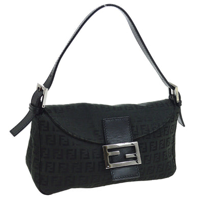 FENDI Leather-Trimmed Zucchino Flap Bag