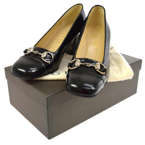 GUCCI GG Black Leather Horsebit Pumps