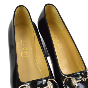 GUCCI GG Black Leather Horsebit Pumps vestiaire collective