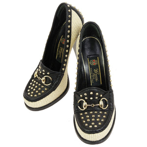GUCCI Studded Horsebit Pumps, Gucci Black and Ivory raffia Horsebit Alyssa Two Toned Straw Leather Studded 37 shoes