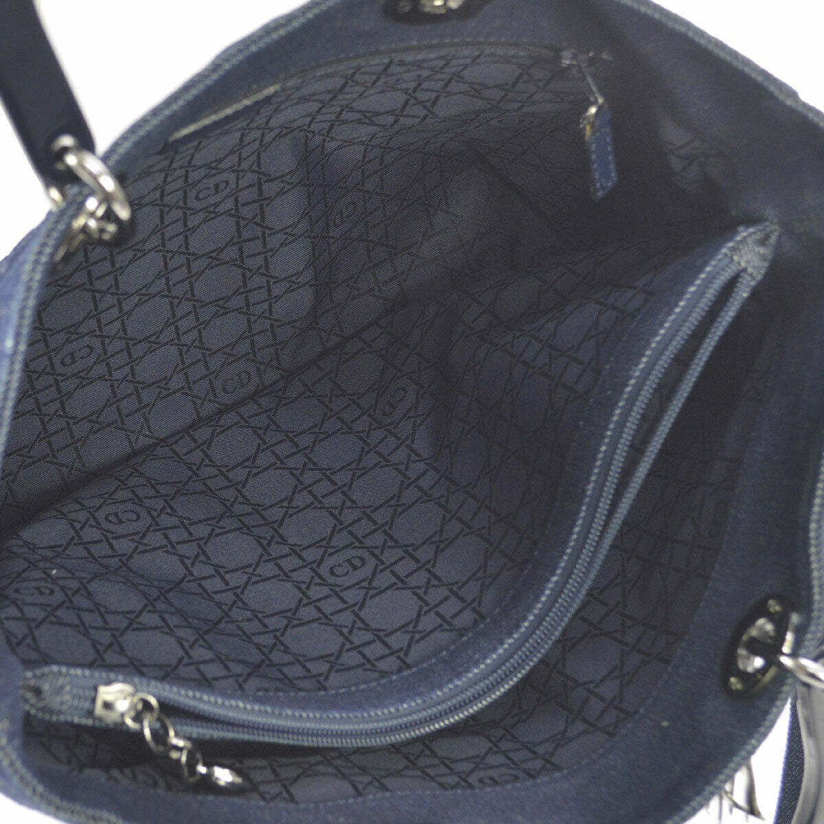 ea3d920fb7b Lady Dior Purses/Designer Purses Quilted Blue Denim & Black Leather ...