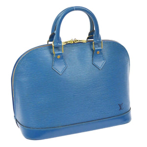 Louis Vuitton Top Handle Bag Alma Epi Handbag Blue Leather Satchel