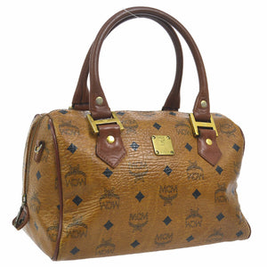 MCM Monogram Visetos Boston Brown Leather Satchel tradesy
