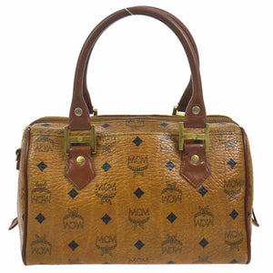 MCM Monogram Visetos Boston Brown Leather Satchel vestiaire collective