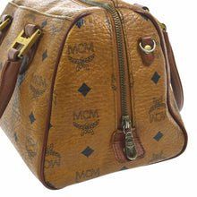 MCM Monogram Visetos Boston Brown Leather Satchel etsy