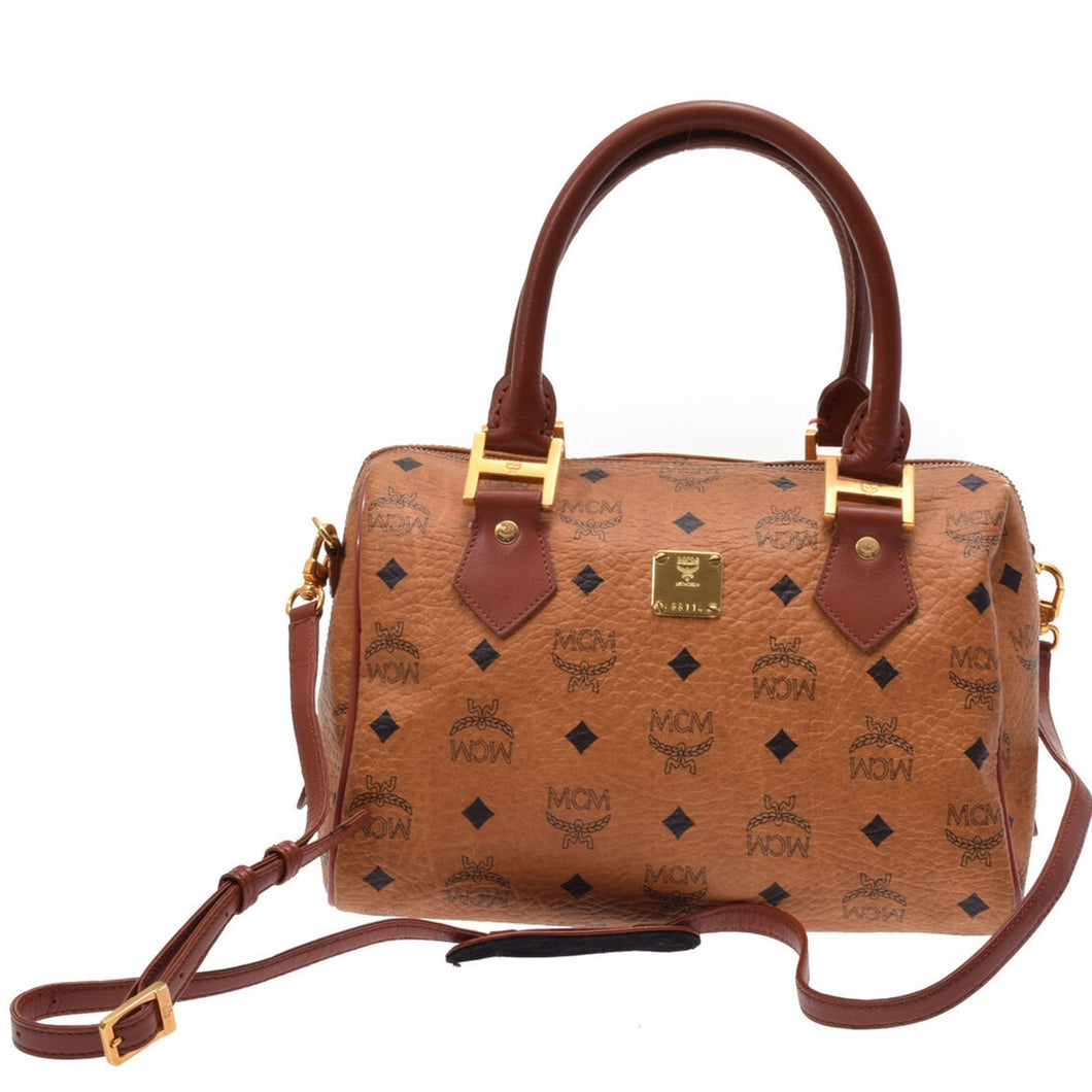 MCM Monogram Visetos Boston Brown Leather Satchel