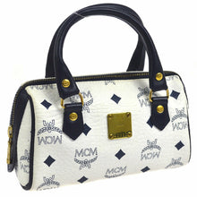 MCM Monogram Mini Handbag Navy Blue/White Coated Canvas Cross Body Bag