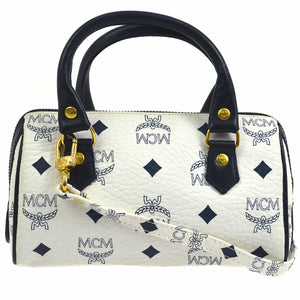 MCM Monogram Mini Handbag Navy Blue/White Coated Canvas Cross Body Bag vestiaire collective