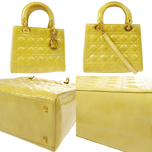 CHRISTIAN DIOR Yellow Patent Medium Lady Dior Bag