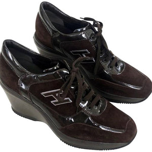 HOGAN  Brown Suede Patent Leather Sneakers