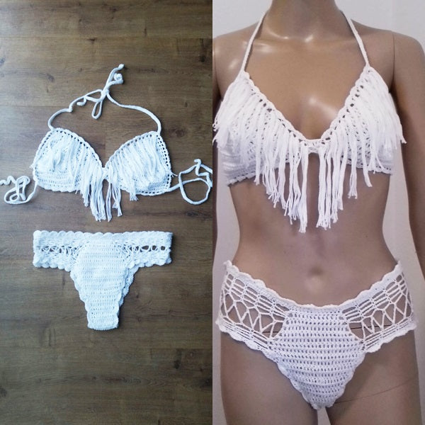 Luxury Italian Beachwear, Italian Bikini design, Fringe Luxury Bikini,