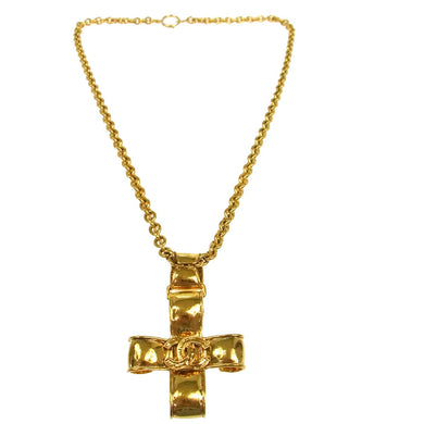 CHANEL CC Ribbon Cross Pendant Necklace