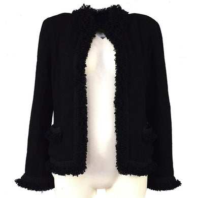CHANEL Camelia Long Sleeve Jacket Black Wool