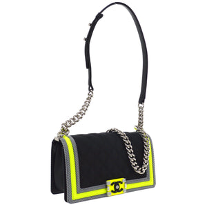 CHANEL Fluo Boy Bag, Boy Fluo Rare Limited Edition Small Sport Black + Green Nylon Cross Body Bag, Chanel Sport Black and Neon Green  Crossbody Boy Bag