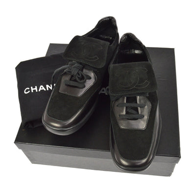 CHANEL Suede Low-Top Sneakers