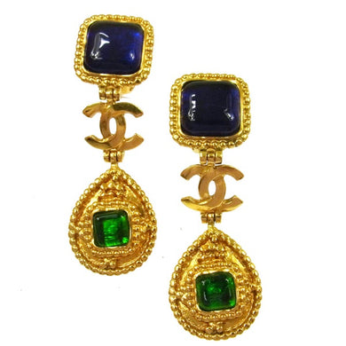 Chanel CC Green & Blue Navy Dangle