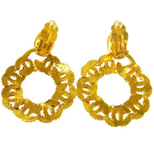 authentic Gold-tone Chanel vintage CC earrings
