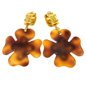 Chanel Vintage CC Logos Clover Motif Earrings