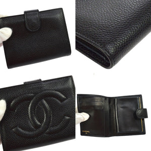Chanel CC Bifold Wallet Black Caviar Leather chiara ferragni