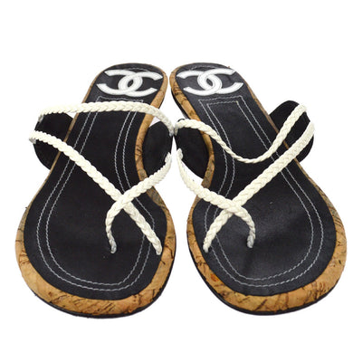 Chanel CC Sandals Black & White