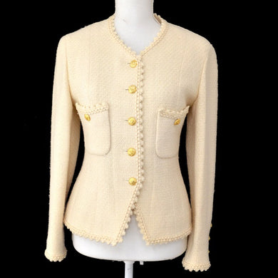 Chanel Wool Jacket Vintage Ivory