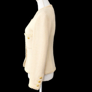 Authentic Chanel Wool Jacket Vintage Ivory