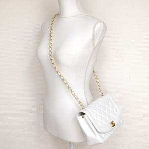 Chanel vintage CC Chain White Leather crossbody bag