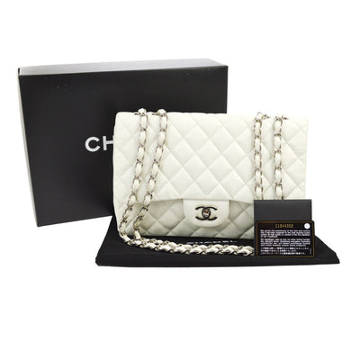 Chanel vintage CC Double Chain White Leather Shoulder bag