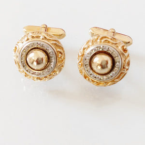 Chanel  Cufflinks, Chanel jewelry, Chanel Rare Gold and Crystals cufflinks, Cufflinks vintage, Gold Chanel vintage anni 50 cufflinks,