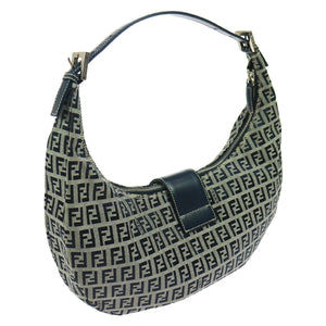 FENDI Leather-Trimmed Hobo vestiaire collective
