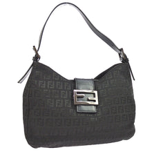Fendi Black Canvas Leather Zucchino Shoulder Bag