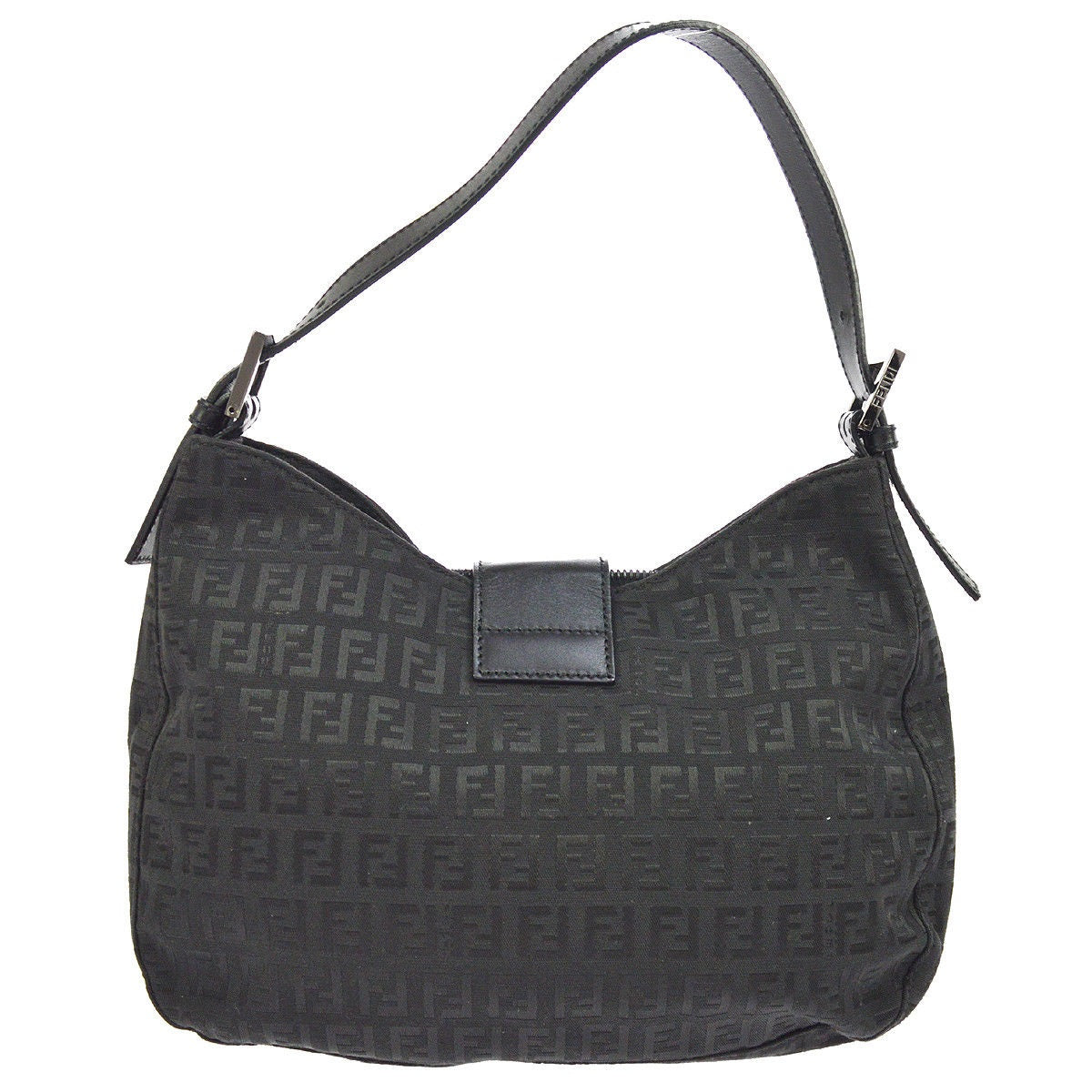 83bf7eac4b ... Fendi Black Canvas Leather Zucchino Shoulder Bag the real real ...