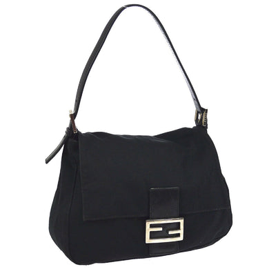 50e0793f6447 Fendi Black Nylon and Leather Mama Forever Shoulder Bag