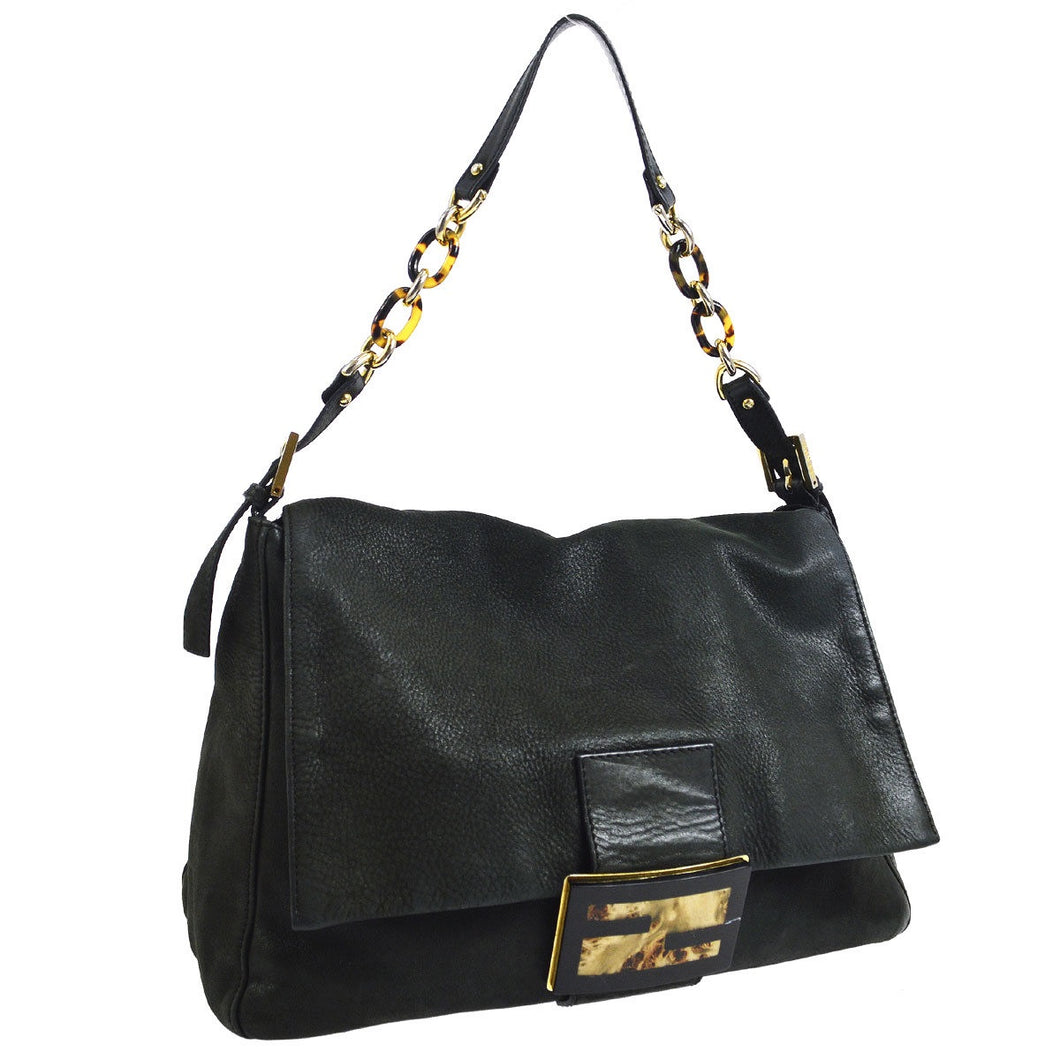FENDI Leather Mamma Baguette Chain Bag