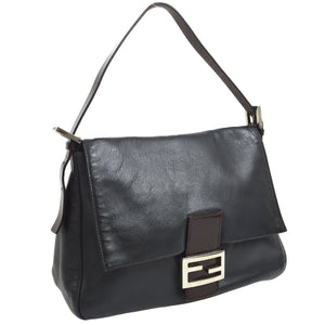 Fendi Black  Leather Mama Baguette Hand Bag