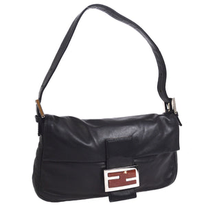 FENDI Mamma Baguette Hand Bag Black Leather