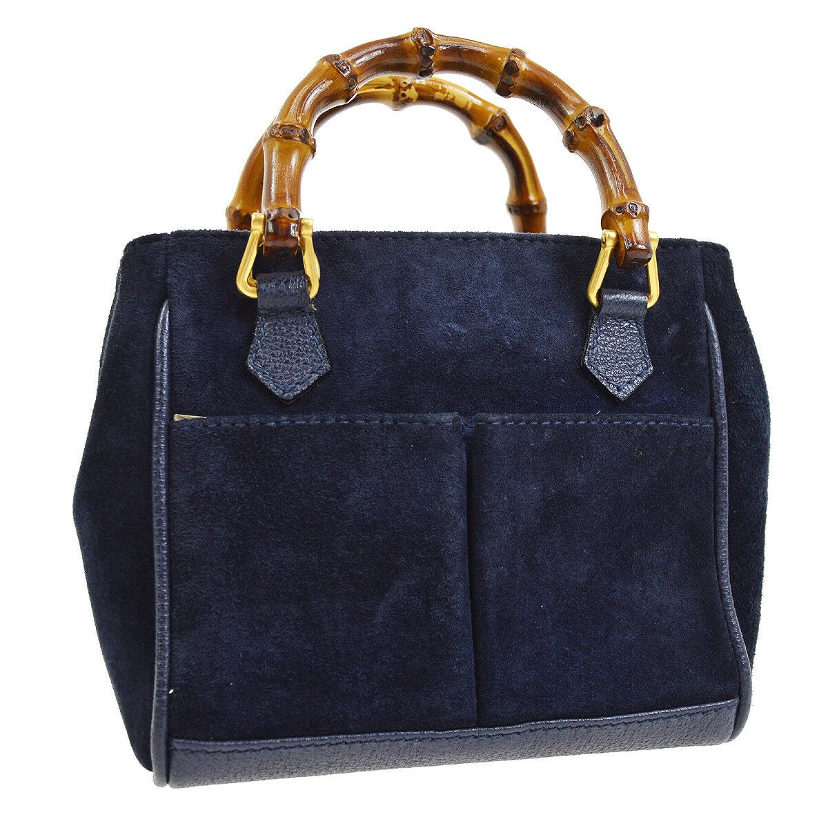 302f5a744fdf Gucci Mini Bamboo Navy Blue Leather Suede Cross Body Bag – Luxury ...