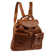 GUCCI Vintage Bamboo Backpack Gucci Twin Pocket Bamboo Brown Leather Backpack