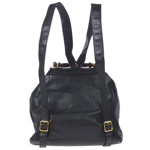 GUCCI Black Bamboo Backpack with fringe