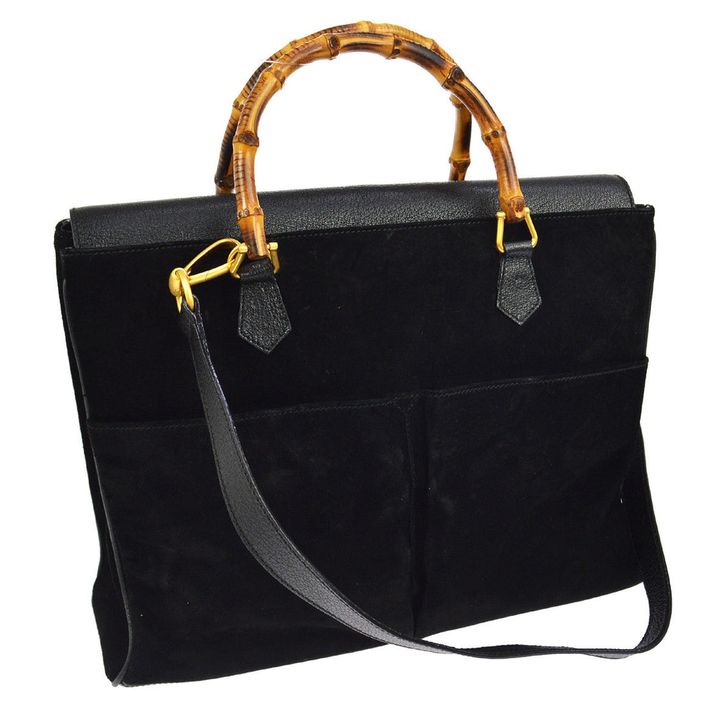 Gucci Bamboo Handle 2way Hand Black Suede Leather Vintage Shoulder Bag