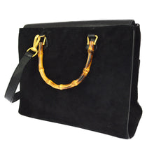 Gucci Bamboo Handle 2way Hand Black Suede Leather Vintage Shoulder Bag tradesy